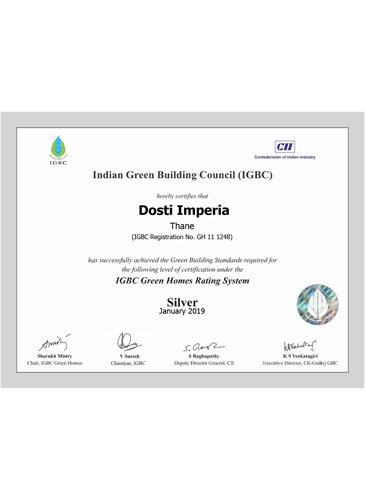 IGBC Green Homes Rating System  - Silver Certified