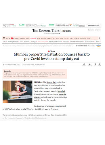 Mumbai property registration bounces back to pre-Covid level on stamp duty cut