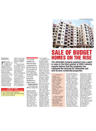 Sale of Budget Homes on the rise