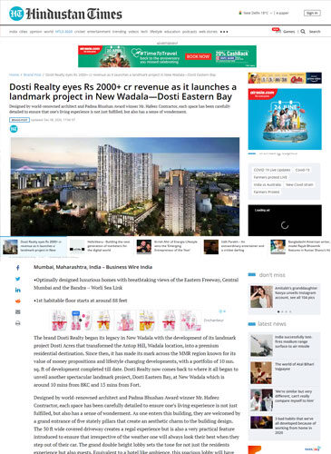 Dosti Realty eyes Rs 2000+ cr revenue as it launches a landmark project in New Wadala—Dosti Eastern Bay