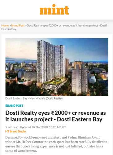 Dosti Realty eyes ₹2000+ cr revenue as it launches project – Dosti Eastern Bay