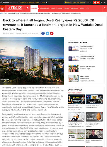 Back to where it all began, Dosti Realty eyes Rs 2000+ CR revenue as it launches a landmark project in New Wadala: Dosti Eastern Bay